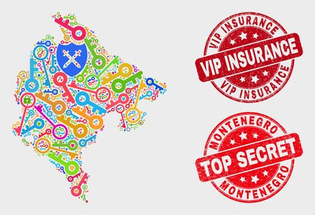 Safety Montenegro map and seals. Red rounded Top Secret and Vip Insurance grunge seals. Bright Montenegro map mosaic of different privacy elements. Vector collage for safety purposes. 스톡 콘텐츠 - 128842693