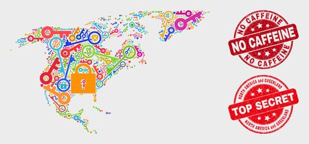 Shield North America and Greenland map and seals. Red round Top Secret and No Caffeine distress seals. Colorful North America and Greenland map mosaic of different shield elements. Ilustrace