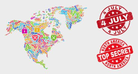 Protection North America map and seal stamps. Red rounded Top Secret and 4 July textured seal stamps. Bright North America map mosaic of different guard items. Vector composition for guard purposes. 스톡 콘텐츠 - 128842700