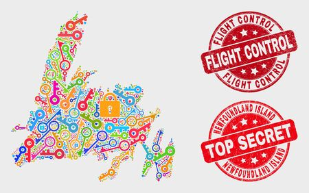 Safety Newfoundland Island map and watermarks. Red round Top Secret and Flight Control distress watermarks. Colorful Newfoundland Island map mosaic of different protection items. Illustration