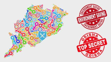 Protection Odisha State map and seals. Red rounded Top Secret and Environment Saving grunge seals. Colorful Odisha State map mosaic of different passkey elements.