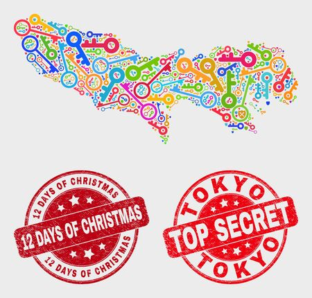 Keep Tokyo Prefecture map and stamps. Red round Top Secret and 12 Days of Christmas scratched seal stamps. Colored Tokyo Prefecture map mosaic of different keeper icons. 스톡 콘텐츠 - 128842747