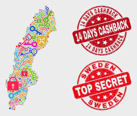 Guard Sweden map and seal stamps. Red rounded Top Secret and 14 Days Cashback grunge stamps. Colorful Sweden map mosaic of different shield elements. Vector combination for guard purposes. 스톡 콘텐츠 - 128842766