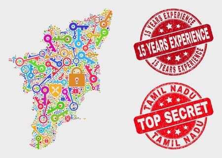Safeguard Tamil Nadu State map and seal stamps. Red rounded Top Secret and 15 Years Experience textured seal stamps. Colored Tamil Nadu State map mosaic of different registration icons. Archivio Fotografico - 128842765