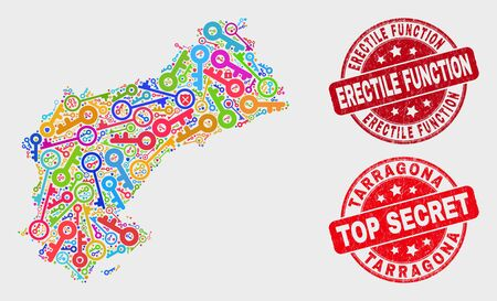 Safety Tarragona Province map and stamps. Red rounded Top Secret and Erectile Function grunge seal stamps. Bright Tarragona Province map mosaic of different registration symbols.