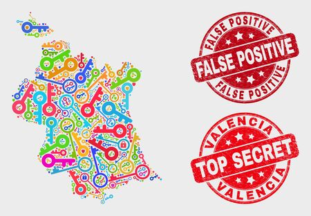 Security Valencia Province map and stamps. Red round Top Secret and False Positive scratched seal stamps. Colorful Valencia Province map mosaic of different guard symbols. 스톡 콘텐츠 - 128842782