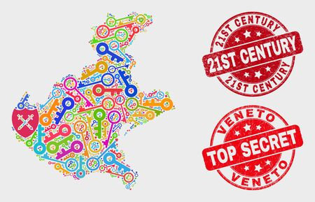 Key Veneto region map and watermarks. Red round Top Secret and 21St Century distress seal stamps. Colorful Veneto region map mosaic of different key items. Vector composition for security purposes.