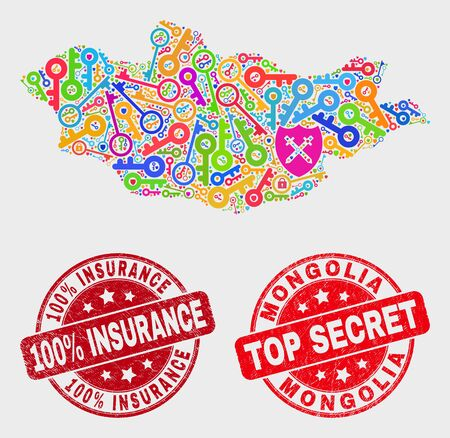 Privacy Mongolia map and seal stamps. Red round Top Secret and 100% Insurance distress stamps. Bright Mongolia map mosaic of different privacy items. Vector combination for security purposes. 스톡 콘텐츠 - 128842788