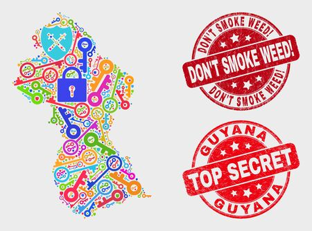Keep Guyana map and seal stamps. Red rounded Top Secret and DonT Smoke Weed! grunge seal stamps. Colored Guyana map mosaic of different secure elements. Vector combination for keeping purposes. Archivio Fotografico - 128842806