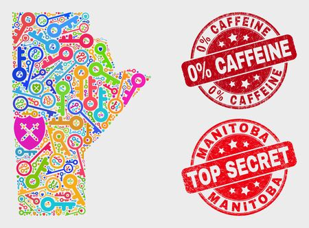 Keep Manitoba Province map and stamps. Red rounded Top Secret and 0% Caffeine scratched stamps. Bright Manitoba Province map mosaic of different secure symbols. Vector collage for guard purposes. 스톡 콘텐츠 - 128842813
