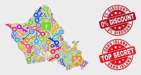 Mapa i pieczątki Tarcza Oahu Island. Czerwone zaokrąglone pieczątki z teksturą Top Secret i 0% rabatu. Kolorowa mozaika mapy wyspy Oahu przedstawiająca różne elementy tarczy. Skład wektora ze względów bezpieczeństwa. Ilustracje wektorowe