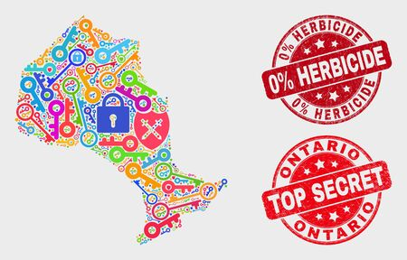 Keep Ontario Province map and watermarks. Red rounded Top Secret and 0% Herbicide grunge watermarks. Colorful Ontario Province map mosaic of different registration icons. Иллюстрация