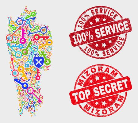 Guard Mizoram State map and seals. Red rounded Top Secret and 100% Service textured seals. Bright Mizoram State map mosaic of different protection items. Vector composition for guard purposes. 스톡 콘텐츠 - 128842834