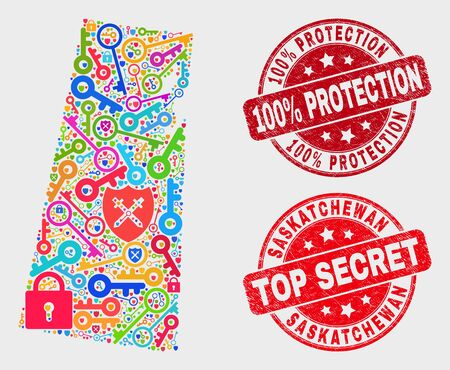 Safeguard Saskatchewan Province map and stamps. Red round Top Secret and 100% Protection textured stamps. Colored Saskatchewan Province map mosaic of different safeguard elements.