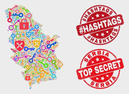Security Serbia map and watermarks. Red round Top Secret and #Hashtags scratched watermarks. Bright Serbia map mosaic of different shield symbols. Vector composition for security purposes. Ilustração