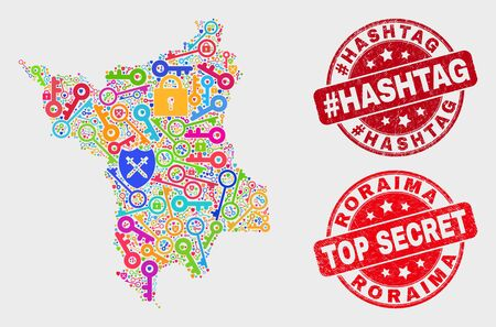 Keep Roraima State map and stamps. Red round Top Secret and #Hashtag distress stamps. Colorful Roraima State map mosaic of different security items. Vector collage for keeping purposes. Çizim