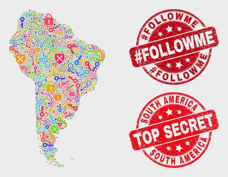 Guard South America map and seal stamps. Red round Top Secret and #Followme grunge stamps. Colorful South America map mosaic of different shield icons. Vector composition for guard purposes.