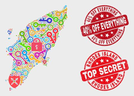 Security Rhodes Island map and watermarks. Red rounded Top Secret and 40% Off Everything textured watermarks. Colored Rhodes Island map mosaic of different lock elements. Archivio Fotografico - 128842846