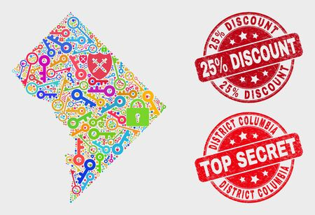 Keep Washington District Columbia map and seal stamps. Red round Top Secret and 25% Discount distress seals. Colorful Washington District Columbia map mosaic of different guard symbols.