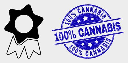 Vector award badge icon and 100% Cannabis watermark. Red rounded grunge watermark with 100% Cannabis caption. Vector combination in flat style. Black isolated award badge symbol. Archivio Fotografico - 129668499