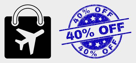Vector airport shopping bag pictogram and 40% Off seal stamp. Red round distress seal stamp with 40% Off text. Vector combination in flat style. Black isolated airport shopping bag symbol. Stock Illustratie