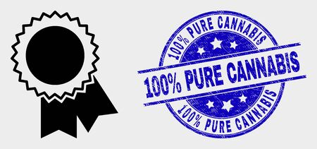 Vector award seal icon and 100% Pure Cannabis seal stamp. Red rounded distress seal stamp with 100% Pure Cannabis caption. Vector composition in flat style. Black isolated award seal pictogram. Archivio Fotografico - 129668521
