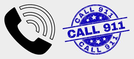 Vector call phone pictogram and Call 911 seal stamp. Red rounded grunge seal stamp with Call 911 caption. Vector composition in flat style. Black isolated call phone icon.
