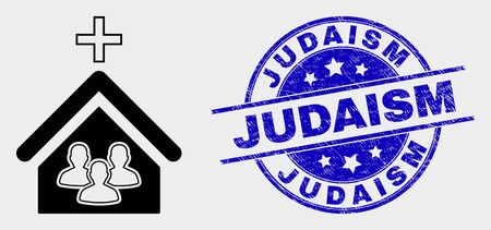 Vector church people pictogram and Judaism seal stamp. Red rounded grunge seal stamp with Judaism text. Vector composition in flat style. Black isolated church people pictogram. Çizim