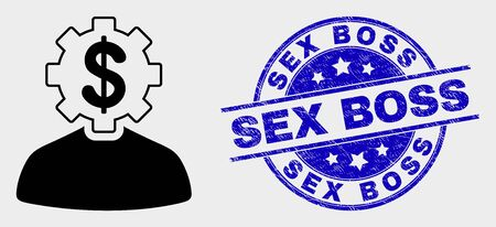 Vector banker gear person pictogram and Sex Boss seal stamp. Red rounded distress seal with Sex Boss caption. Vector combination in flat style. Black isolated banker gear person pictogram. Ilustração