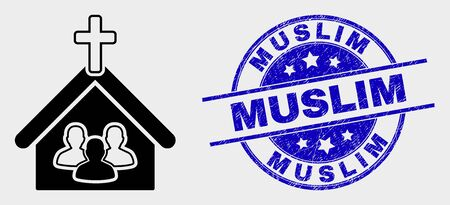 Vector church people pictogram and Muslim seal stamp. Red round scratched seal stamp with Muslim text. Vector combination in flat style. Black isolated church people pictogram.