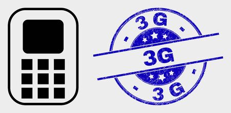 Vector cellphone icon and 3G seal stamp. Red round scratched seal with 3G text. Vector composition in flat style. Black isolated cellphone icon. Фото со стока - 129668735