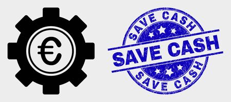 Vector euro gear icon and Save Cash seal. Red round distress seal with Save Cash caption. Vector combination in flat style. Black isolated euro gear icon. Ilustração