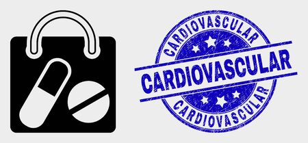 Vector drugs shopping bag icon and Cardiovascular seal. Red round scratched seal stamp with Cardiovascular caption. Vector combination in flat style. Black isolated drugs shopping bag icon.