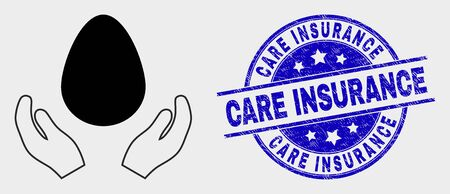 Vector egg care hands icon and Care Insurance watermark. Red rounded grunge watermark with Care Insurance caption. Vector combination in flat style. Black isolated egg care hands icon.