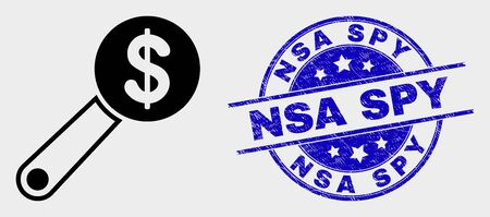 Vector financial audit icon and NSA Spy seal stamp. Red round grunge seal stamp with NSA Spy text. Vector composition in flat style. Black isolated financial audit icon. Çizim