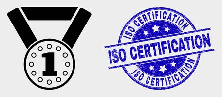 Vector gold medal icon and ISO Certification seal. Red round grunge seal stamp with ISO Certification caption. Vector combination in flat style. Black isolated gold medal icon. Archivio Fotografico - 129668882