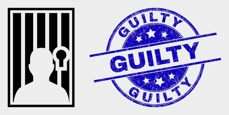 Vector jailed person pictogram and Guilty seal. Red round distress seal stamp with Guilty caption. Vector combination in flat style. Black isolated jailed person pictogram.
