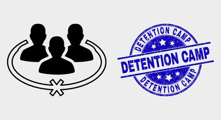 Vector jailed persons pictogram and Detention Camp seal stamp. Red round scratched seal stamp with Detention Camp caption. Vector composition in flat style. Black isolated jailed persons symbol. Stock Illustratie