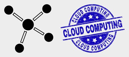 Vector links pictogram and Cloud Computing seal stamp. Red rounded grunge seal stamp with Cloud Computing text. Vector combination in flat style. Black isolated links pictogram. Ilustração