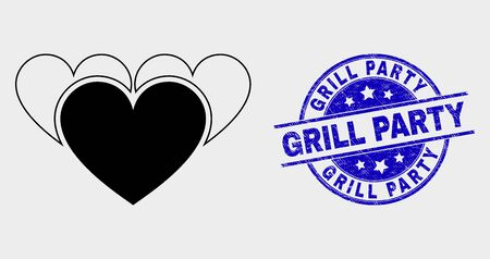 Vector love hearts icon and Grill Party seal stamp. Red round scratched seal stamp with Grill Party text. Vector combination in flat style. Black isolated love hearts icon.