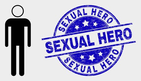 Vector man icon and Sexual Hero seal. Red rounded distress seal with Sexual Hero text. Vector composition in flat style. Black isolated man icon.  イラスト・ベクター素材