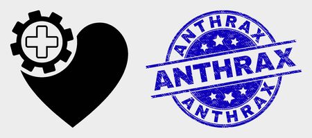 Vector heart gear icon and Anthrax seal. Red rounded distress seal with Anthrax text. Vector combination in flat style. Black isolated heart gear icon.