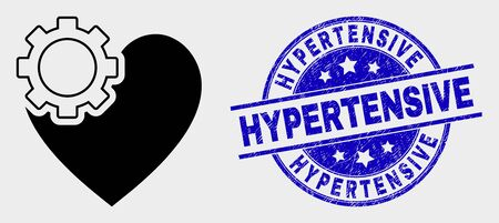 Vector heart gear icon and Hypertensive seal. Red rounded textured seal stamp with Hypertensive caption. Vector combination in flat style. Black isolated heart gear icon.