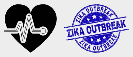 Vector heart pulse pictogram and Zika Outbreak seal. Red round scratched seal with Zika Outbreak text. Vector composition in flat style. Black isolated heart pulse pictogram.