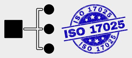 Vector hierarchy pictogram and ISO 17025 stamp. Red round distress seal stamp with ISO 17025 caption. Vector combination in flat style. Black isolated hierarchy pictogram. Ilustração