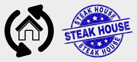 Vector home refresh arrows icon and Steak House seal. Red round textured seal stamp with Steak House caption. Vector combination in flat style. Black isolated home refresh arrows pictogram.
