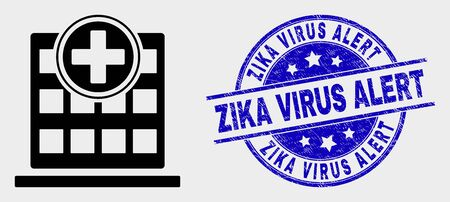 Vector hospital building icon and Zika Virus Alert stamp. Red round grunge stamp with Zika Virus Alert caption. Vector combination in flat style. Black isolated hospital building symbol.