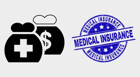 Vector medical funds pictogram and Medical Insurance seal stamp. Red round scratched seal with Medical Insurance caption. Vector composition in flat style. Black isolated medical funds pictogram. Ilustrace