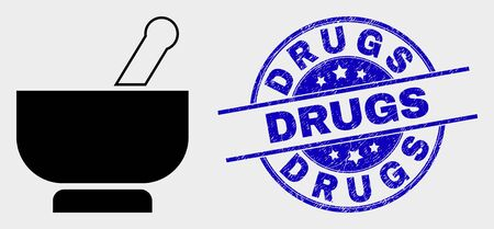 Vector mortar pictogram and Drugs seal stamp. Red round distress seal stamp with Drugs text. Vector combination in flat style. Black isolated mortar pictogram. 写真素材 - 129668952