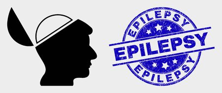 Vector open mind pictogram and Epilepsy seal stamp. Red rounded textured seal stamp with Epilepsy text. Vector composition in flat style. Black isolated open mind pictogram.